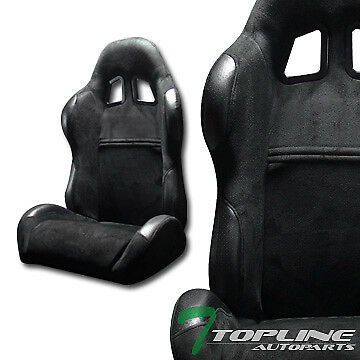 Sp Sport Style Blk Suede Leather Reclinable Racing Bucket Seats+Sliders L+R T12