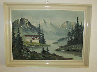 Large Vintage Original Oil Painting On Canvas 'Mountains', Signed By Martin