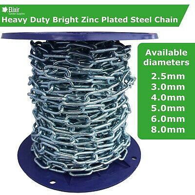 Steel Chain Strong Heavy Duty Bright Zinc Plated Welded Links | From £3.49