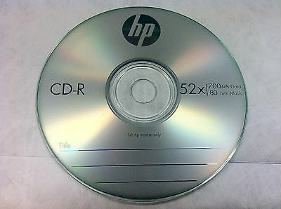 10 Pcs HP Brand 52X Logo Blank CD-R CDR Disc Media 700MB with Paper Sleeves