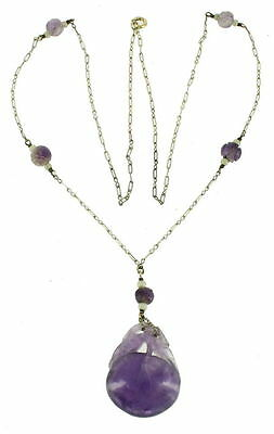 "Antique Chinese Qing Dynasty Sterling Amethyst Plum Amulet Necklace 28"" Chain"