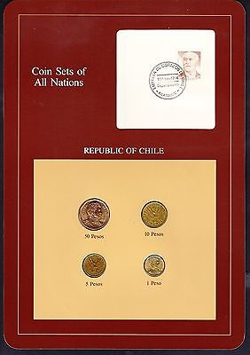 Chile  Coin Sets of All Nations 4 BU Coins 1 Peso - 50 Pesos 1981-1984