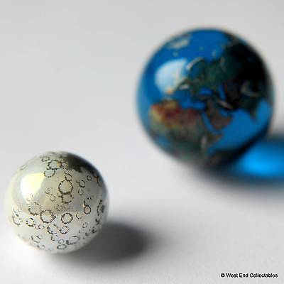 Moon & Earth Globe Marbles Pair - 12mm & 22mm Glass - Astronomy Space Orrery