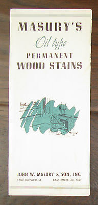1950's Pamphlet Masury's Oil Type Wood Stain Samples Baltimore Maryland