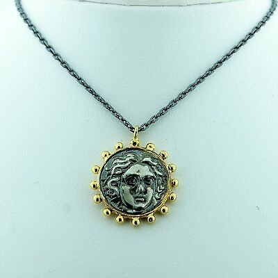 Black Sterling Silver Gold Plated Roman Medallian Coin Necklace Pendant