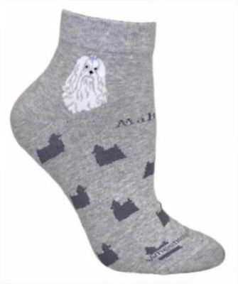 Adult Medium MALTESE Anklet Adult Socks/Grey CLEARANCE PRICED