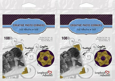 "Scrapbook Adhesives (2) packs of 108 Gold Photo Corners each  1/2""   426397"