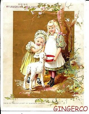 McLAUGHLIN'S XXXX COFFEE 1880s VICTORIAN TRADING CARD 2 YOUNG GIRLS FEEDING LAMB