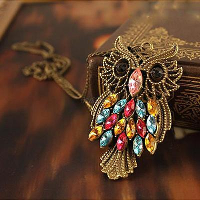Colorful Rhinestone Fashion Vintage Cute Owl Carved Hollow Long Chain Necklace
