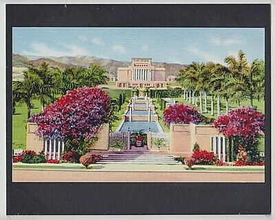 """Mormon Temple Laie N. 1920'? Oahu Hand Colored Giclee Photo On 8X10"""" Black Mat"""