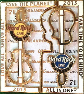 Hard Rock Cafe & Live ORLANDO 2015 RAILING GUITAR PIN 2 Piece Puzzle Set - New!