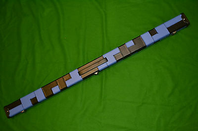 New Quality Deluxe Blue / Black Patchwork 3/4 Snooker Or Pool Cue Case
