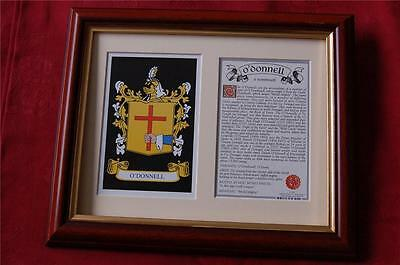 O'DONNELL Family FRAMED Heraldic Coat of Arms + Crest + History