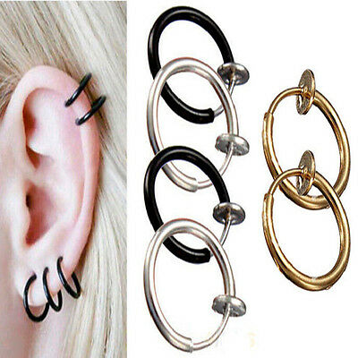 2PCS Punk Unisex Cool Nose Lips Ring Spring Clip On Hoop Earring Piercing Septum