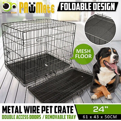 "24"" Dog Cat Pet Puppy Wire Cage Kennel Crate Collapsible 2 Doors Metal Wire Tray"