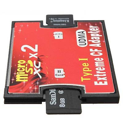Dual Port Micro SD/SDXC TF To Compact Flash CF Type I Memory Card Reader Adapter