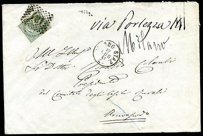 ITALY MILAN Cancel on Cover 1871 w/Postal Marks on the back, VF