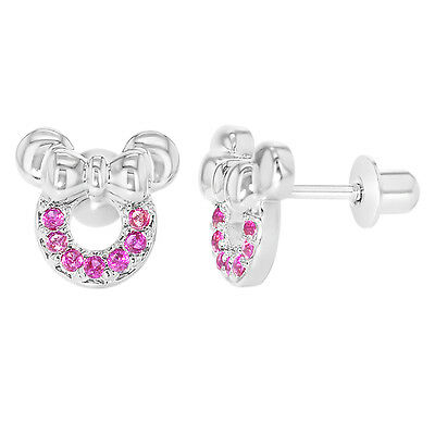 White Gold Filled 18K Fuchsia Pink Crystal Minnie Mouse Screw Back Earrings Girl