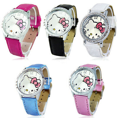 New 2015 New lovely Hellokitty Girls Ladies Wristwatch Round Face Quartz Watch
