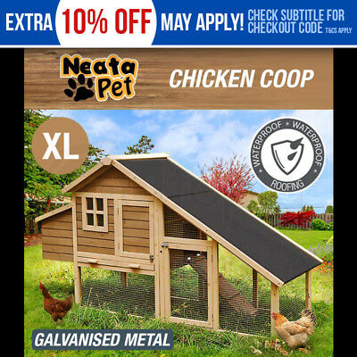 NEATAPET Extra Large Chicken Coop Rabbit Hutch Wooden Guinea Ferret Hen House