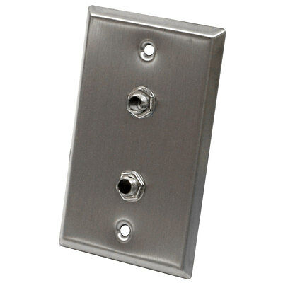 """Seismic Audio - Stainless Steel Wall Plate - Dual 1/4"""" TRS Stereo Jacks"""
