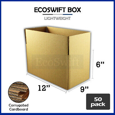 50 12x9x6 Cardboard Packing Mailing Moving Shipping Boxes Corrugated Box Cartons