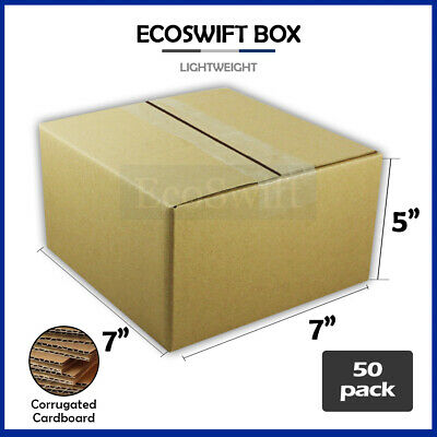 50 7x7x5 Cardboard Packing Mailing Moving Shipping Boxes Corrugated Box Cartons
