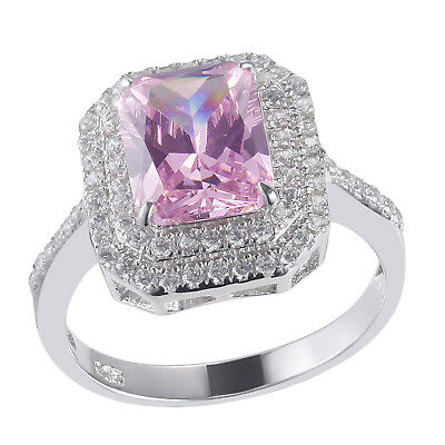 3.52CT Emerald Pink Sapphire White Topaz Solid 925 Sterling Silver Gemstone Ring