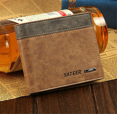 Men's Leather Bifold Wallet Clutch Pockets Purse ID Business Credit Card Holder