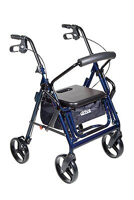 Drive Medical Duet Transport Wheelchair Rollator Walker 795B New