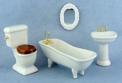 Dolls House Miniature 1:12 Furniture Plain White Porcelain Ladies Bathroom Suite