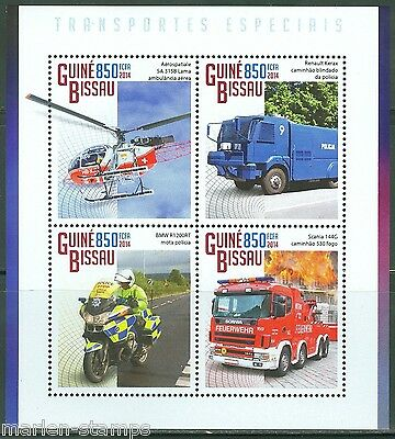 Guinea Bissau 2014 Emergency Vehicles  Motocycle Helicopter Fire Engine Sheet