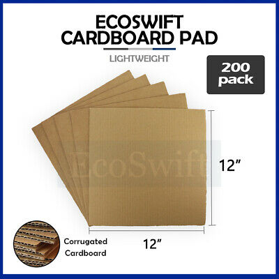 "200 12x12 Corrugated Cardboard Pads Inserts Sheet 32 ECT 1/8"" Thick 12"" x 12"""
