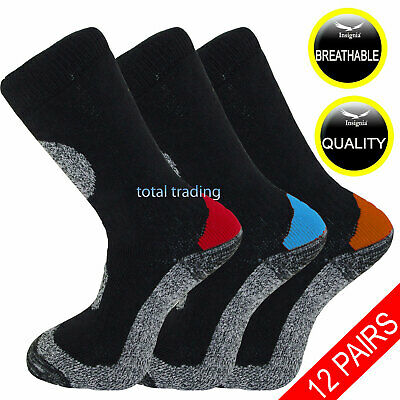 12 Pairs Mens Ultimate Work Boot Socks Cushion Sole Reinforced Toe Size 6-11 -14