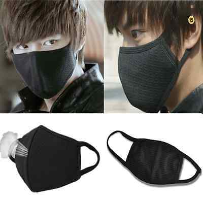 2PC Unisex Mens Womens Black Cycling Anti-Dust Cotton Mouth Face Mask Respirator
