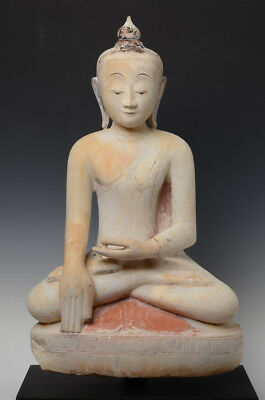 16th-17th Century, Shan, Antique Burmese Alabaster Seated Buddha