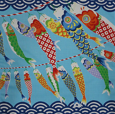 Furoshiki Wrapping Cloth Japanese Fabric 'Seigaiha Koi Nobori' Carp Cotton 50cm