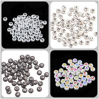 50pcs Mini Acrylic Mixed ABC Alphabet Letter Coin Round Flat Spacer Beads 7x4mm