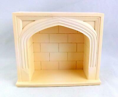 Melody Jane Dolls House Miniature 1:12 Furniture Cream Resin Tudor Fireplace