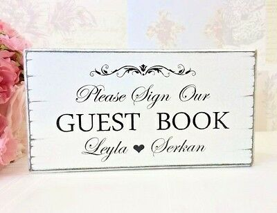 Personalised wedding guest book sign shabby vintage chic free standing handmade