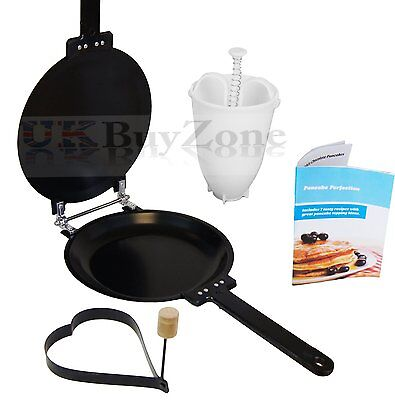 Pancake Crepes Omelette Maker Frying Flip Pan FREE Batter Dispenser Recipe Book
