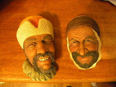 1967 Himalayan and 1961 Persian Bossons Chalkware Heads Congleton England