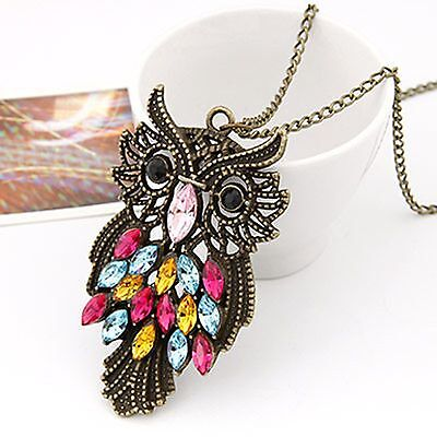 N1226 Hot New Charm Vintage Colorful Sapphire Cute Owl Pendant Chain Necklace