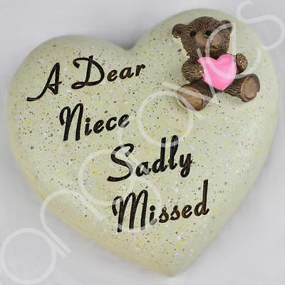 Dear Niece Sadly Missed Memorial Memento Ornament Graveside Teddy Child Heart