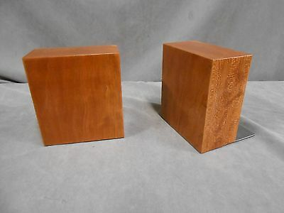 AMAZING PAIR VINTAGE RETRO DANISH MODERN EAMES ERA SOLID WOOD BOOKENDS