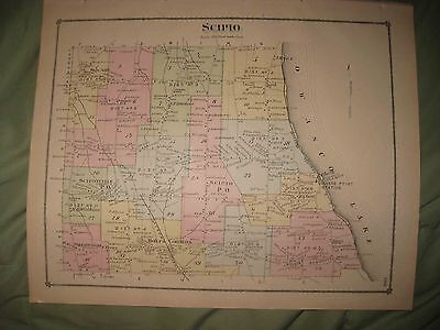 Antique 1875 Scipio Sherwood Cayuga County New York Handcolored Map Rare Nr