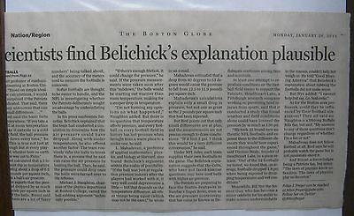 (16)  Clippings: Boston Globe 1/ 2015 Patriots Deflated Football Controversy