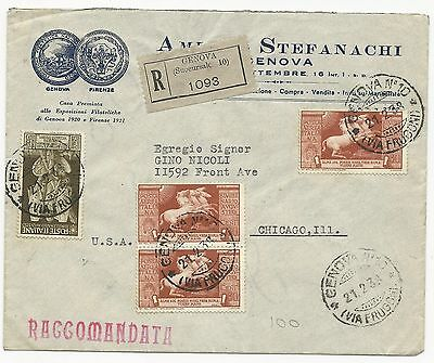Italy Scott #378 #C97 x3 on Registered Cover to USA February 21, 1938