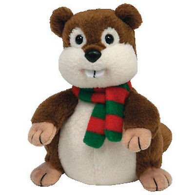 TY Jingle Beanie Baby - YULE the Beaver (4 inch) - MWMT's Stuffed Animal Toy