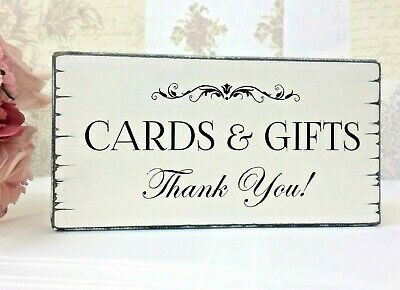 Wedding Sign CARDS & GIFTS Wedding Post Table Sign Vintage Free Standing